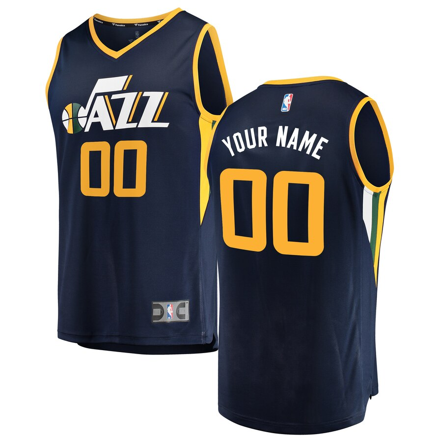 Utah Jazz Custom Letter and Number Kits for Black Jersey