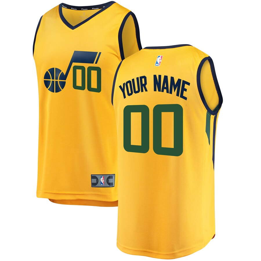 Utah Jazz Custom Letter and Number Kits for Gold Jersey